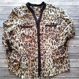 NY Collection Leopard Print Button Blouse